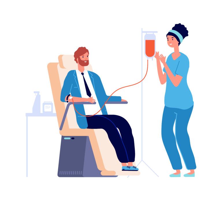 Medical check in. Man blood donor, isolated flat male volunteer and nurse. Transfusion donating or analysis in health center vector illustration. Man transfusion blood, donor character